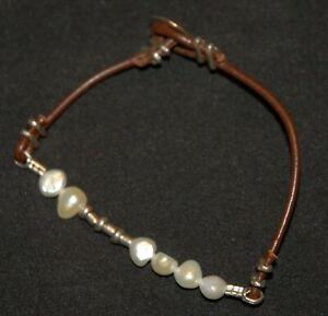 SILPADA - B1062 - Sterling Silver Pearl & Leather Bracelet