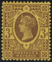 1887 JUBILEE SG203 K32(2) 3d DEEP PURPLE ON YELLOW SHADE PAPER UNMOUNTED MINT