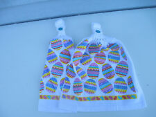2 Hanging Kitchen Dish Towels With Crochet Tops Pretty Easter Eggs