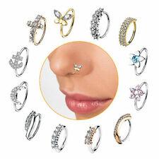 Nasenpiercing Nasenring Ohr Helix Piercing Ring filigrane Creole mit Kristallen