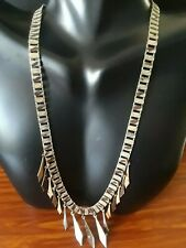 """Old Vintage Silver Tone Book Chain Victorian painted ornate Necklace 16"""" Long!"""