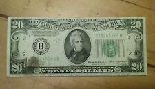 1934 A  $20 Circulate Twenty Dollar Bill United States Currency Old Money