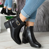 Womens Ankle Boots Ladies Chelsea Buckle Casual Low Cuban Heel Fashion Shoes Siz