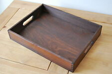 Einfaches Holz - Holz Serviertablett 40cmx30cmx 6.5cm in Braun Farbe