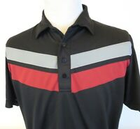 Travis Mathew Large Golf Polo Shirt Stripes Black Red Gray Short Sleeve Mesh