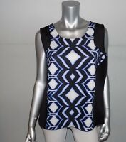 LANE BRYANT NEW Black/Blue Print Exposed Zipper Sleeveless Blouse Plus sz 26/28W