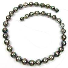 "8.5-12mm Baroque Tahitian Black / Peacock Green Pearls 16.5"" Loose Strand"