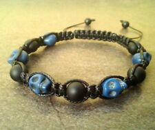 Men's shamballa beaded skull bracelet gemstone jewelry wristband cuff gift men