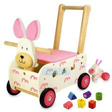 Wooden Walker & Ride Shape Sorting Pink Bunny Rabbit Toddler Activity Walk Toy
