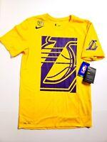 Nike Los Angeles Lakers Dri-Fit Yellow Cotton Shirt AJ2418-728 Mens SZ Small