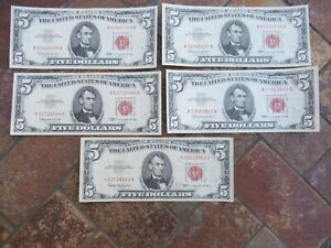 Vintage (5) 1963 Red Seal Five Dollar United States Notes