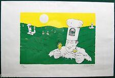 LITHO ORIGINALE NICOULAUD  signée datée 1990 vin Limoux chef cloche vigne