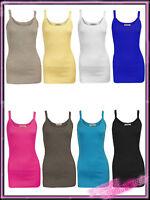 Ladies Plain Cotton Ribbed Vest Top Women New Summer Top UK S/M M/L 8 10 12 14