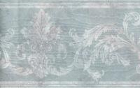 Victorian Damask Flower Urn Floral Leaf Scroll Silk Satin Blue Wall paper Border
