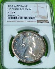 1953 CANADA SILVER DOLLAR $1 .NGC Grade AU58