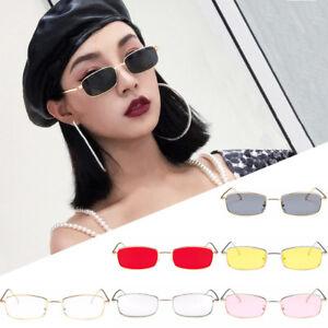 Vintage Square Sunglasses Retro Shades Small Rectangular Metal Frame Glasses AU