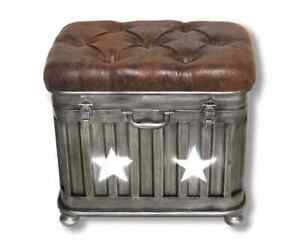 51cm Iron Industrial Star Ottoman Storage Stool With Faux Leather Lid FREE P+P