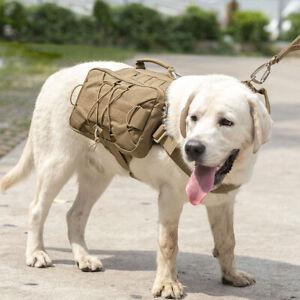 Tactical Dog Harness Backpack Adjustable K9 Saddle Bag for Medium & Large Breeds