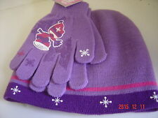 2 Pc Set Knit Hat & Gloves Purple Pink Snowflake Cap Winter Skier Girl Sz 4 - 6