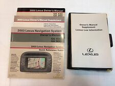 LEXUS 2003 GS300 GS430 OWNERS MANUAL NAVIGATION BOOKS GUIDE OEM W/ LEATHER POUCH