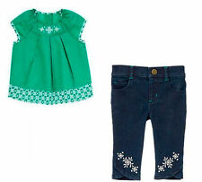 Gymboree The Green Scene Green Pleated Shirt & Capri Jeans Set Girls 5T NEW NWT
