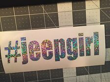 Jeep Girl Hashtag Vinyl Decal Silver Glitter Flake Free S&H SALE PRICED!