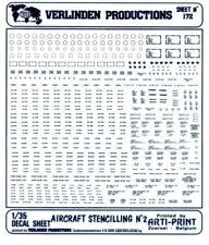 Verlinden Productions 1:35 Aircraft Stenciling No.2 Black Transfer Sheet #172