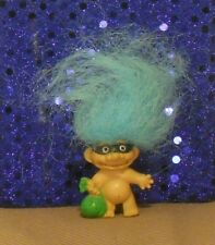 """1.5"""" trick-or-treater Halloween pencil topper Troll Doll: mask/green bag/blue"""