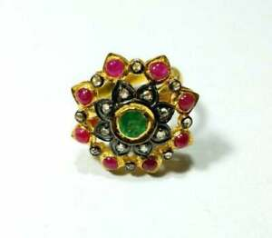 925 Sterling Silver Natural Ruby & Emerald Gemstone Pave Diamond Ring Jewelry