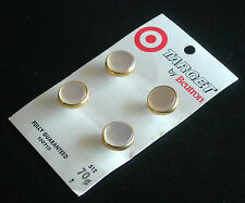 Vintage Target by Beutron Buttons, Shanked, 12mm White on Gold, 1 card x 4