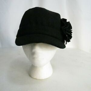 Elan Blanc Women's Hat Black Floral Bling NWT