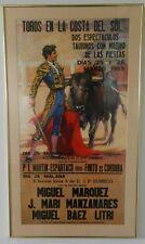 "1980s ""Toros En La Costa Del Sol"" Spanish Bull fighting 18"" X 36"" framed poster"