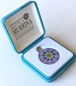 Murano Antica Murrina Veneziana Millefiori Glass Pendant Silver NEW