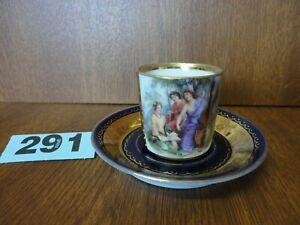 Royal Vienna Porcelain Coffee Cup & Saucer - Cobalt Blue & Gilt / Musicians