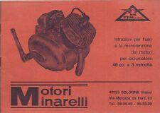 Motore Minarelli 48 cc a 3 velocità Uso e Manutenzione - 1968 Originale Sport