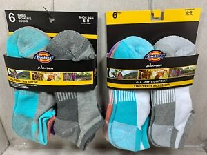 NEW 6 PAIRS PACK DRI-TECH NO SHOW DICKIES WOMEN SOCKS ASSORTED COLOR SHOE  6-9
