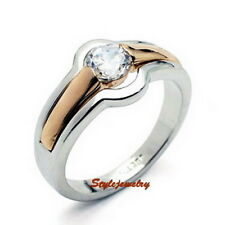 White Gold Plated Clear Cubic Crystal Engagement Wedding Ring Size 5 R62