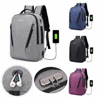 Fashion Men Women Anti-Theft Travel Backpack USB Port Shoulder Laptop School Bag