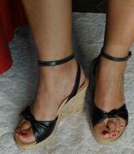 Sandali neri similpelle fibbia 36 usate tacco alto 10cm similsughero zeppa