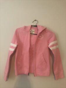 Abercrombie Kids Big Girls Fleece Full Zip Hoodie Sweatshirt, Pink 7/8 New
