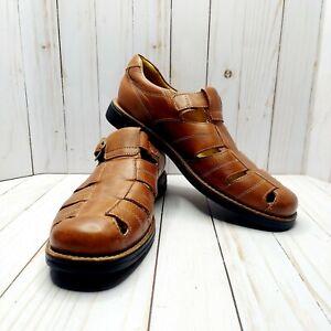 Johnston & Murphy Fisherman Leather Sandals Men's Size 10M Sheepskin Liner Brown