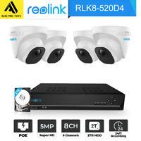 Reolink 5MP PoE Security Camera System 8CH NVR Video Surveillance RLK8-520D4-5MP