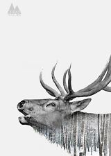 UNIQUE HIPSTER GIFT CALLED ELK ART PRINT nature forest antler decor 10x14 poster