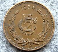 MEXICO 1934 5 CENTAVOS, NICE DETAILS