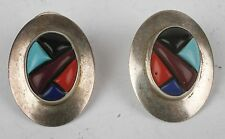 Southwest Multi Stone Turquoise Coral Inlay EDITH JAMES Sterling Silver Earrings