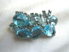 Vintage Silver Tone Aqua Glass Rhinestone Prong Set Brooch Pin