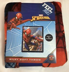 "MARVEL SPIDERMAN KIDS 40""X 50"" SUPER SOFT SILKY THROW BLANKET"
