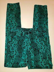 JUSTICE girls size 14 SLIM green black SNAKE SKIN DESIGN JEANS pants premium @@