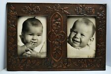 CADRE MURAL à 2 PHOTOS  dinanderie de cuivre martelé 1900 bébé