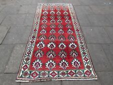 Vintage Traditional Hand Made Oriental Red Blue Wool Gabbe Long Rug 258x122cm